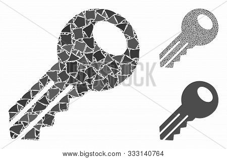 Key Mosaic Of Abrupt Parts In Various Sizes And Shades, Based On Key Icon. Vector Abrupt Parts Are O