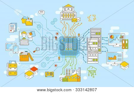 Big Data Concept Vector Illustration. Collection Of Information From Different Sources, Data Process