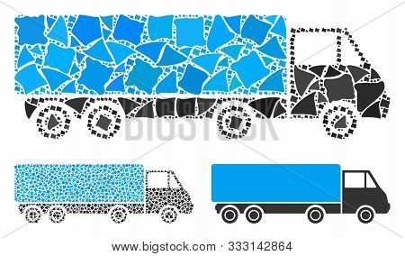 Cargo Wagon Composition Of Tuberous Pieces In Different Sizes And Shades, Based On Cargo Wagon Icon.