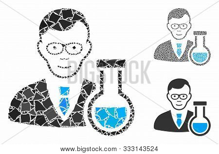 Chemist Composition Of Uneven Pieces In Various Sizes And Color Tones, Based On Chemist Icon. Vector