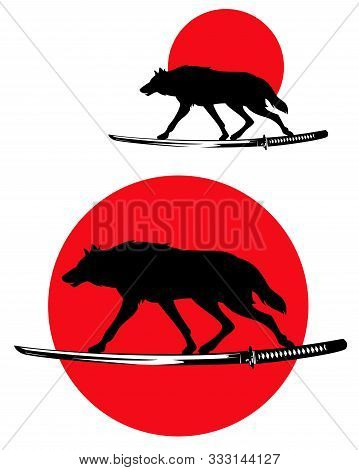 Wolf Running Along Samurai Katana Sword - Wild Animal Silhouette And Traditional Japanese Red Sun Bu