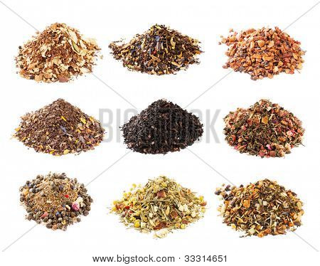Mate, Rooibos and herbal tea collection isolated on white background poster