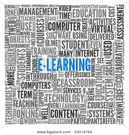 Concepto de E-learning en la nube de etiquetas de palabra en blanco
