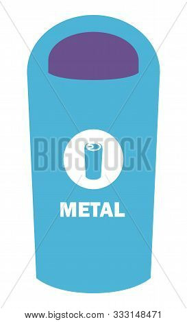 Metal Garbage Container Vector, Flat Style Dustbin With Sign. Sorting Litter Made Of Metallic Materi