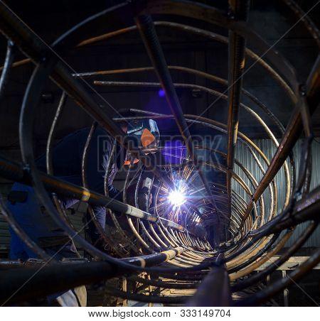 Welder At The Industrial Factory Welding Or Steel Fabrication Work