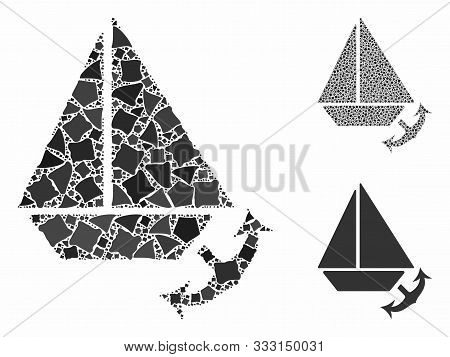 Seaport Composition Of Ragged Pieces In Various Sizes And Color Tones, Based On Seaport Icon. Vector
