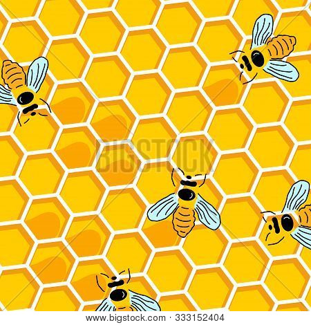 Honey Bee On Honeycomb. Honey Seamless Pattern Background. Bee With Honey And Honeycomb In Modern Si