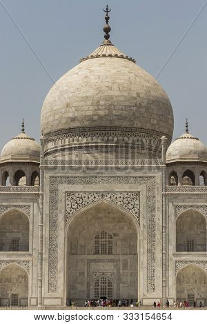 Taj Mahal In Agra, India. Close View Of The Taj Mahal And Its Dome.