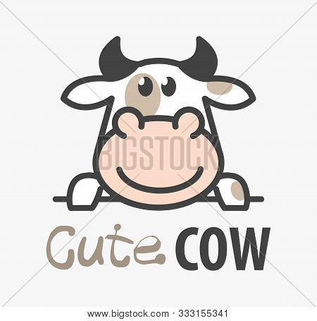 Vector Logo Of сute Funny Smiling Cartoon Cow. Modern Humorous Logo Template With Image Of The Bull.