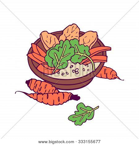 Healthy Meal With Carrots. Hand-drawn In Cartoon Style, Colored Artwork Isolated On White Background