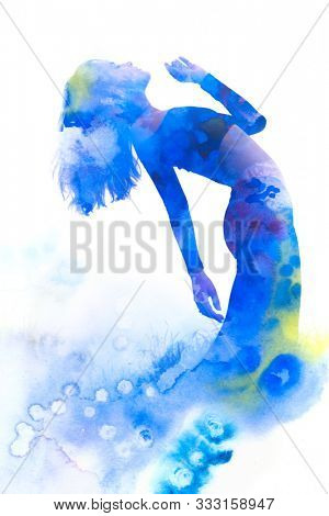 Paintography. Double exposure portrait of an elegant slender woman's silhouette combined with bright blue hand drawn watercolor painting