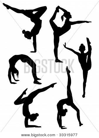 Girls Gymnasts Silhouettes