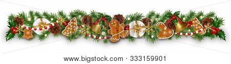 Christmas Border Decorations Garland With Fir Branches, Gingerbread Cookies, Golden Bells, Holly Ber