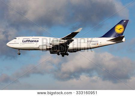 Frankfurt / Germany - December 6, 2012: Lufthansa Boeing 747-400 D-abvp Passenger Plane Landing At F