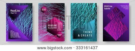 Annual Report Covers Design Set. Pink Blue Purple Synthwave Textures. Vector Templates For Corporate