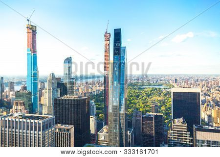 New York, Usa - May 17, 2019: Central Park Aerial View, Manhattan, New York, Park Is Surrounded By S