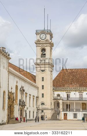 Coimbra / Portugal - 04 04 2019 : View Of The Tower Building Of The University Of Coimbra, Classic A