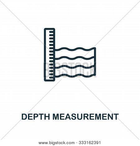 Depth Measurement Icon Outline Style. Thin Line Creative Depth Measurement Icon For Logo, Graphic De