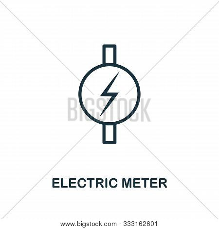 Electric Meter Icon Outline Style. Thin Line Creative Electric Meter Icon For Logo, Graphic Design A