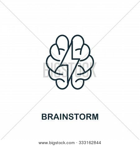 Brainstorm Icon Outline Style. Thin Line Creative Brainstorm Icon For Logo, Graphic Design And More