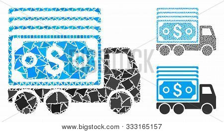 Cash Lorry Mosaic Of Bumpy Parts In Variable Sizes And Color Tones, Based On Cash Lorry Icon. Vector