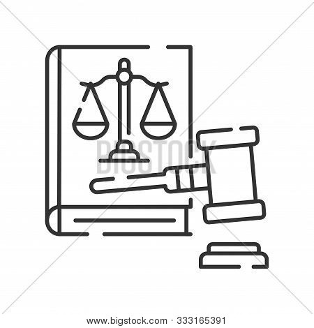 Lawsuit Line Black Icon. Judiciary Concept. Gavel, Scales Of Justice On Book Element. Sign For Web P