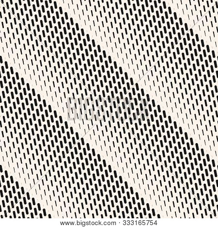 Vector Halftone Seamless Pattern With Vertical Dash Lines, Fading Stripes. Diagonal Black And White