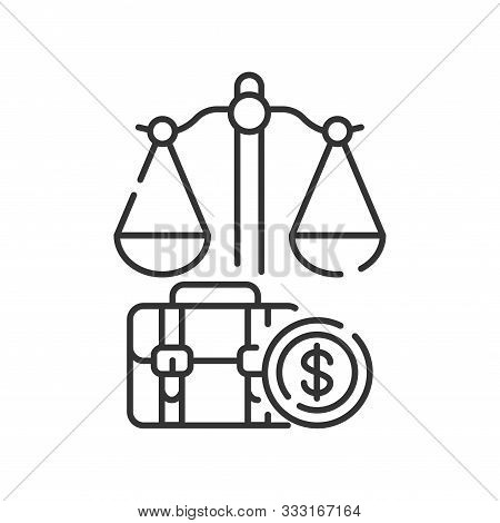 Arbitration Court Line Black Icon. Judiciary Concept. Employment Law Element. Sign For Web Page, Mob