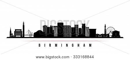 Birmingham Skyline Horizontal Banner. Black And White Silhouette Of Birmingham, United Kingdom. Vect