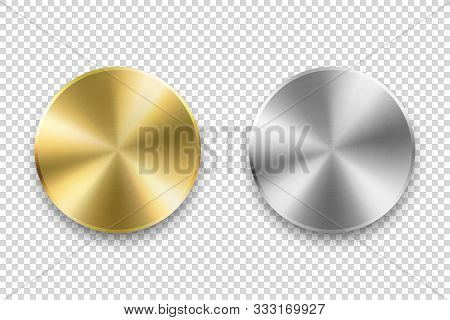 Vector Realistic Metallic Knob. Design Template Of Metal Chrome, Steel Or Silver Textured Circle But