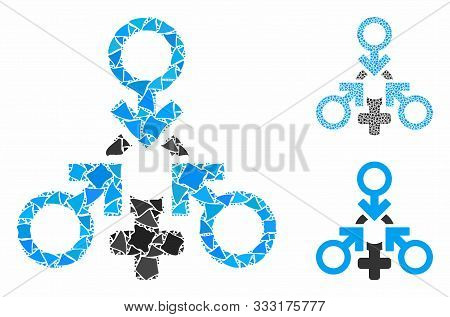 Triple Penetration Sex Composition Of Irregular Elements In Various Sizes And Color Hues, Based On T