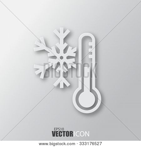 Cold Weather Icon In White Style With Shadow Isolated On Grey Background.