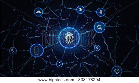 Рersonal Data Technology Background. Digital Communication Network. Security Internet Business Conce