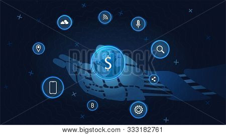 Internet Business Technology. Robotic Hand On Communication Network Background. Online Business Netw