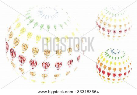 Abstract Aerostat Sphere Composition Of Humpy Pieces In Different Sizes And Color Hues, Based On Abs