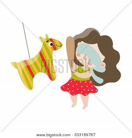 Cute Happy Dark-haired Girl Playing Pinata. Vector Illustration In Flat Cartoon Style.