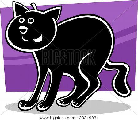 poster of cartoon illustration of funny black cat or kitten