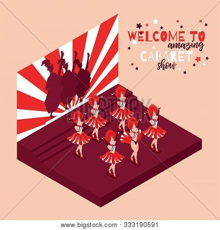 Cabaret Advertising Vintage Poster With Text Welcome To Amazing Show And Images Of Women Dancing Can