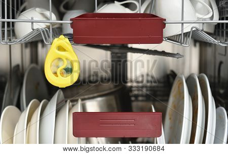 The Yellow Odor Remover Hangs In The Dishwasher And Neutralizes Odors. Air Freshener Dishwasher