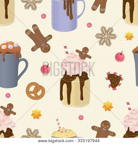 Holliday Bright Vector Seamless Pattern. Christmas Objects, Cakes, Candies, Biscuits Presents