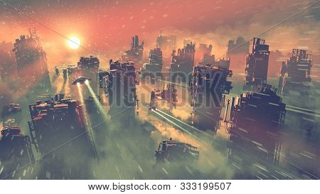 Post Apocalypse Scenery Showing Of Spaceships Flying Above Abandoned Skyscrapers, Digital Art Style,