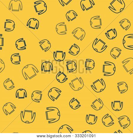 Blue Line Sweater Icon Isolated Seamless Pattern On Yellow Background. Pullover Icon. Vector Illustr