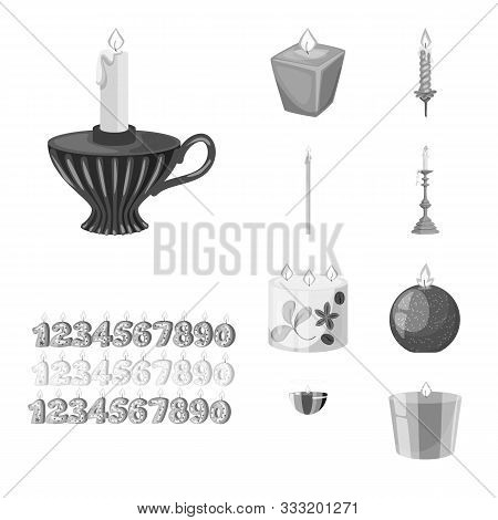 Vector Illustration Of Paraffin And Fire Icon. Set Of Paraffin And Decoration Stock Symbol For Web.