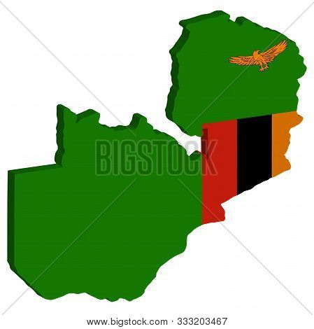 3d Map Flag Of Zambia Vector Illustration. Eps 10.