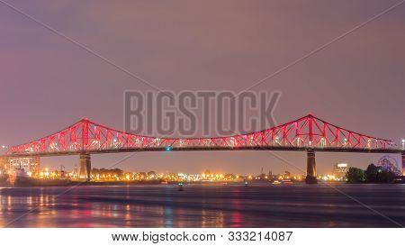 Long Exposure Shot Of Jacques Cartier Bridge Illumination In Montreal, Quebec, Canada