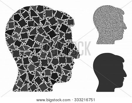 Man Head Composition Of Bumpy Parts In Various Sizes And Color Tones, Based On Man Head Icon. Vector