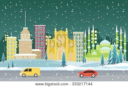 Winter Snow In Istanbul City Cityscape Skyline Landmark Building Illustration