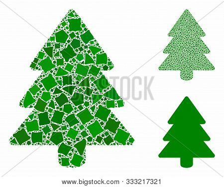 Fir-tree Composition Of Humpy Elements In Various Sizes And Color Hues, Based On Fir-tree Icon. Vect