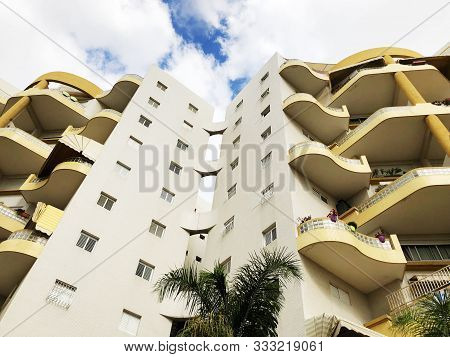 Rishon Le Zion, Israel  October 07, 2019: Residential Buildings  View From The Bottom  In Rishon Le