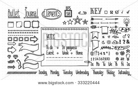 Bullet Journal And Diary Elements Set On Dot Texture. Cute Hand Drawn Doodle Banners For Notebook. N